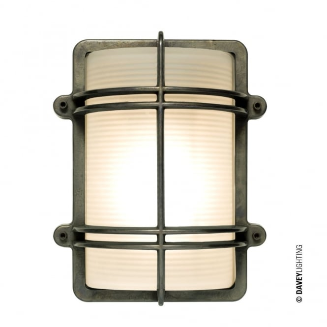 Davey Lighting RECTANGULAR - Exterior Bulkhead Fitting Weathered Brass
