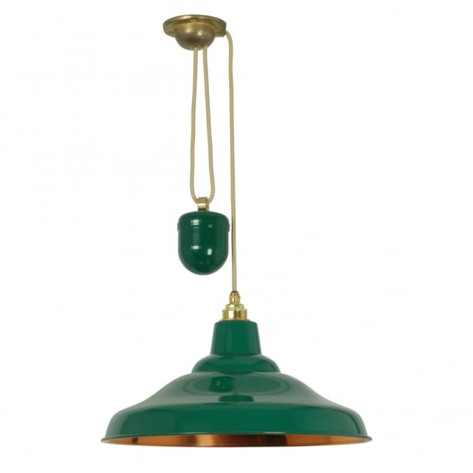 Davey Lighting RISE AND FALL - School Light Painted Green Polished Copper Interior