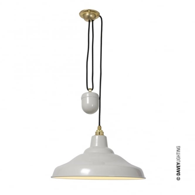 Davey Lighting RISE AND FALL - School Light Painted Putty Grey White Interior