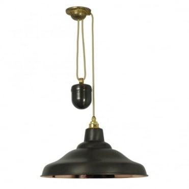 RISE AND FALL - School Light Weathered Copper Polished Copper Interior