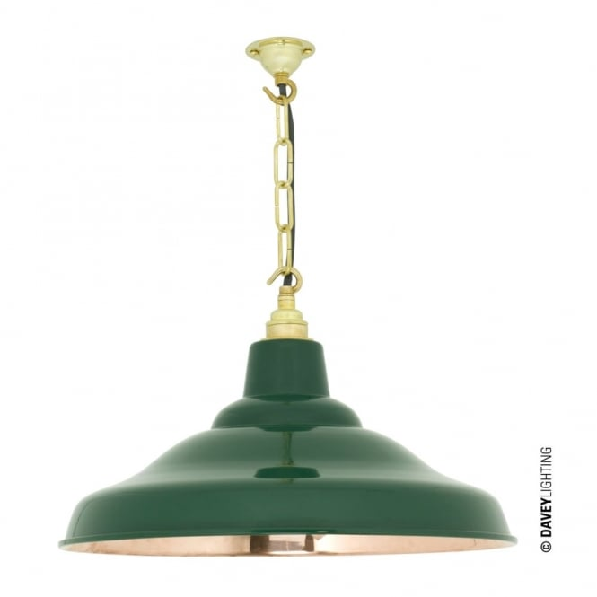 Davey Lighting SCHOOL - Industrial Copper Ceiling Pendant In Green