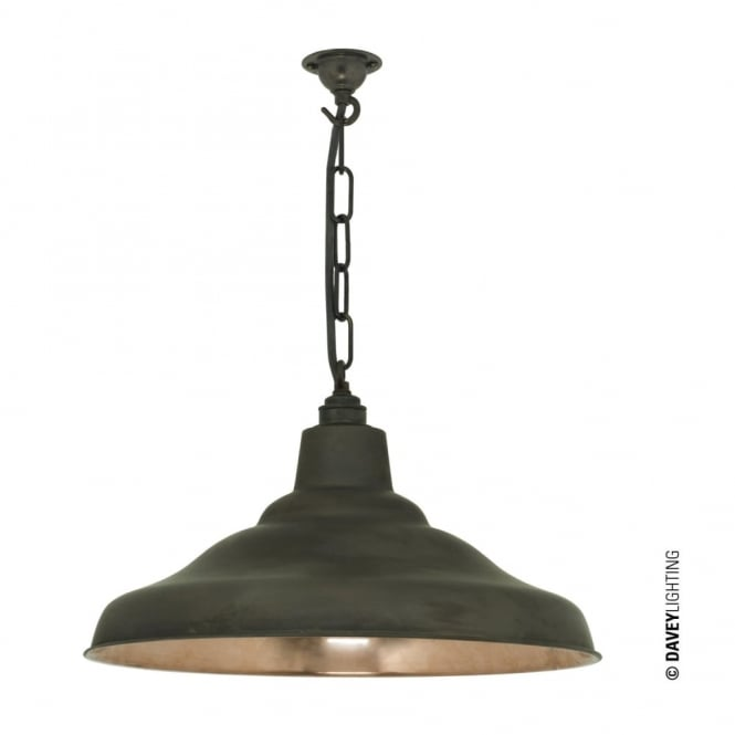 Davey Lighting SCHOOL - Industrial Copper Ceiling Pendant With Weathered Brass Shade Outer