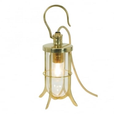 SHIP'S - Hook Table Light Clear Glass Polished Brass