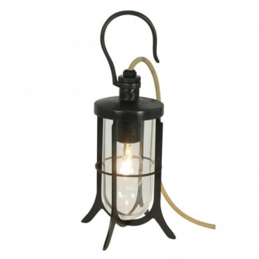 SHIP'S - Hook Table Light Clear Glass Weathered Brass
