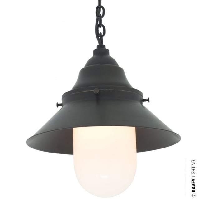 Davey Lighting SHIP'S - Large Ceiling Pendant Deck Light in Weathered Brass with Opal Glass