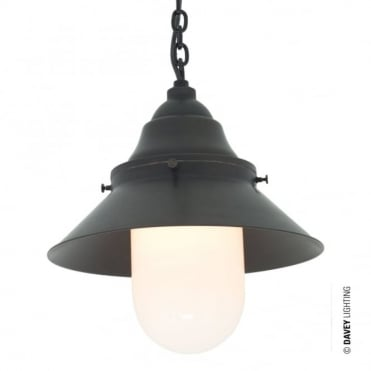 SHIP'S - Large Ceiling Pendant Deck Light in Weathered Brass with Opal Glass