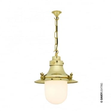 SHIP'S - Small Decklight Polished Brass Opal Glass