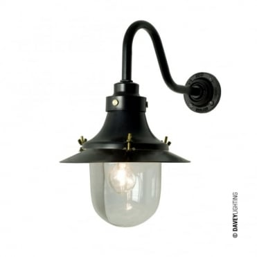 SHIP'S - Small Decklight Wall Light Painted Black Clear Glass
