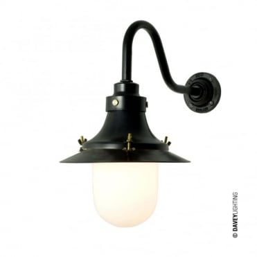 SHIP'S - Small Decklight Wall Light Painted Black Opal Glass