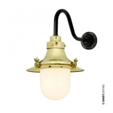 SHIP'S - Small Decklight Wall Light Polished Brass Opal Glass