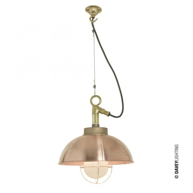 Davey Lighting SHIPYARD - Industrial Ceiling Pendant in Copper with Frosted Glass