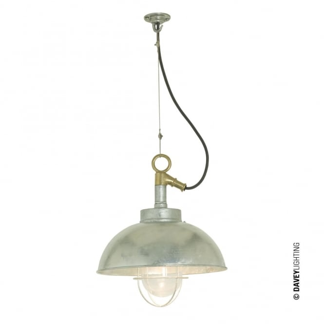 SHIPYARD - Industrial Ceiling Pendant in Galvanised Steel with Clear Glass