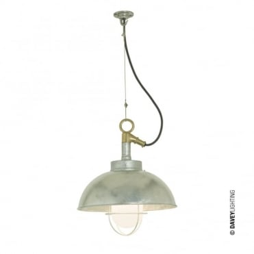 SHIPYARD - IP44 Industrial Ceiling Pendant in Galvanised Steel with Frosted Glass