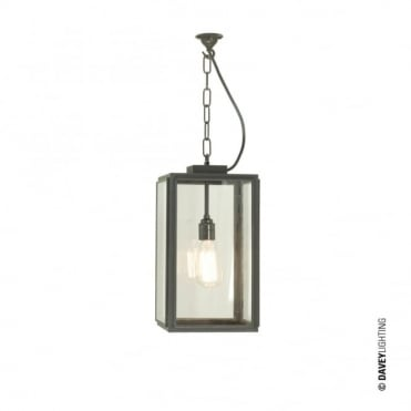 SMALL - Square Ceiling Pendant Closed Top Weathered Brass Clear Glass