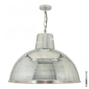 SPUN - Extra Large Vintage Factory Inspired Ceiling Pendant Polished Aluminium