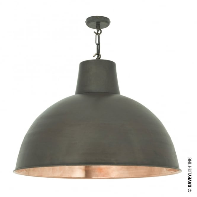 Davey Lighting SPUN - Extra Large Vintage Factory Inspired Ceiling Pendant Weathered Brass And Polished Copper