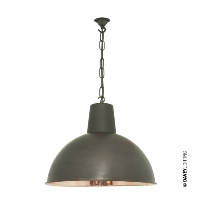 Davey Lighting SPUN - Medium Vintage Factory Inspired Ceiling Pendant Weathered Brass Polished Copper Inner