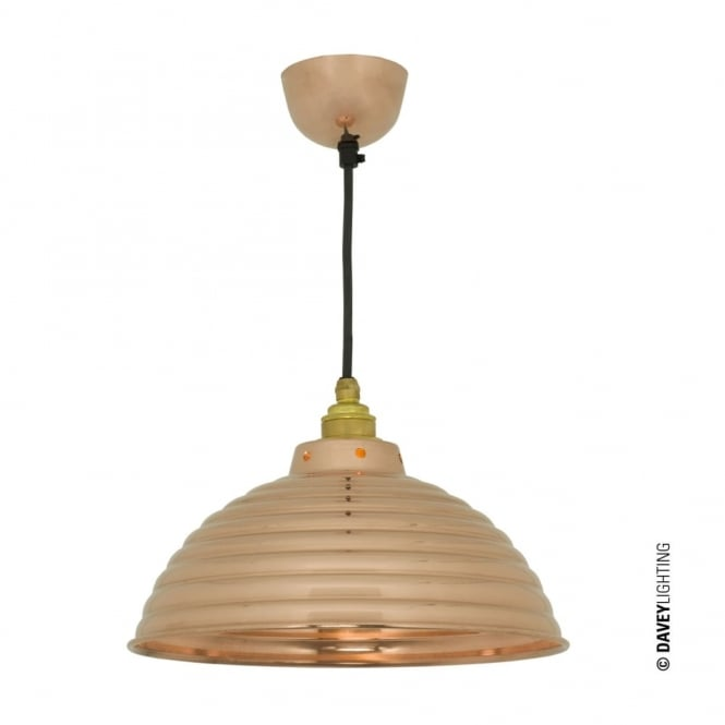 Davey Lighting SPUN - Ripple With Cord Grip Lampholder Polished Copper