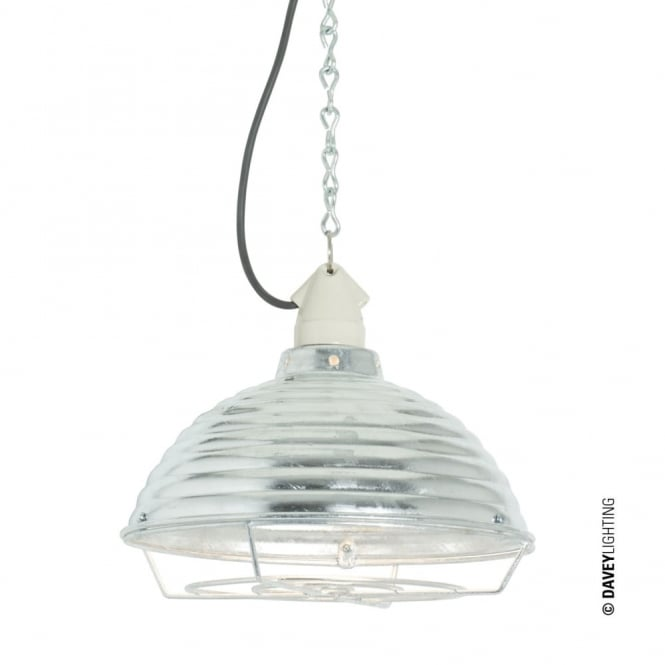 Davey Lighting SPUN - Ripple With Suspension Lampholder Galvanised With Guard