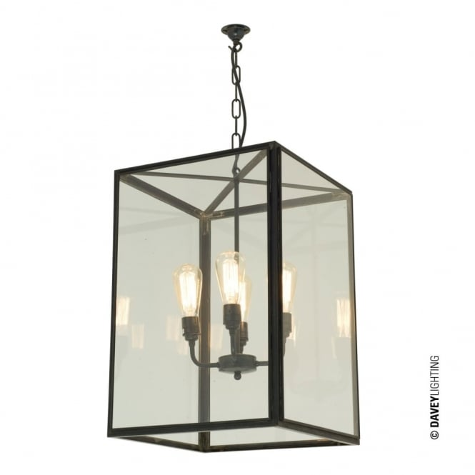 Davey Lighting SQUARE - 4 Light Ceiling Pendant, Glazed in Weathered Brass