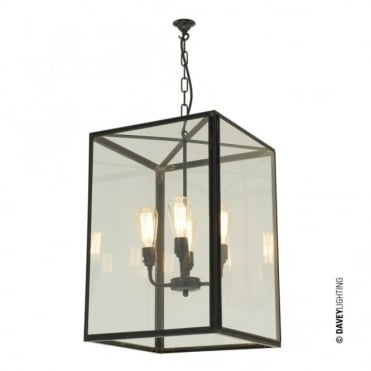 SQUARE - 4 Light Ceiling Pendant, Glazed in Weathered Brass