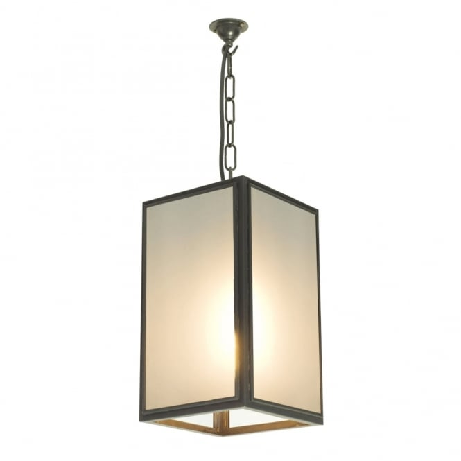 SQUARE - Ceiling Pendant in Weathered Brass Glazed with Frosted Glass