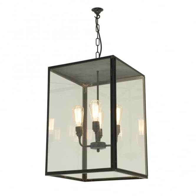 Davey Lighting SQUARE - Glazed 4 Light Ceiling Pendant with Closed Top Weathered Brass Clear Glass