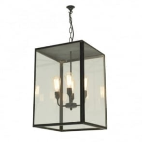 SQUARE - Glazed 4 Light Ceiling Pendant with Closed Top Weathered Brass Clear Glass