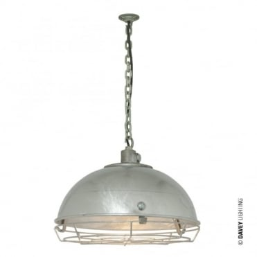 STEEL - Industrial Working Ceiling Light With Protective Guard Galvanised