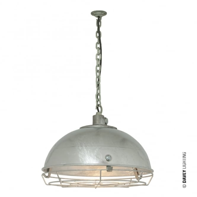 Davey Lighting STEEL - Working Ceiling Pendant Light With Protective Guard Galvanised IP44