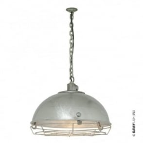 STEEL - Working Ceiling Pendant Light With Protective Guard Galvanised IP44