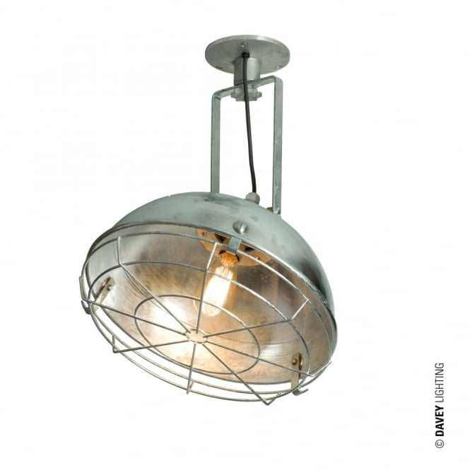 Davey Lighting STEEL - Working Wall Light With Protective Guard Galvanised IP44