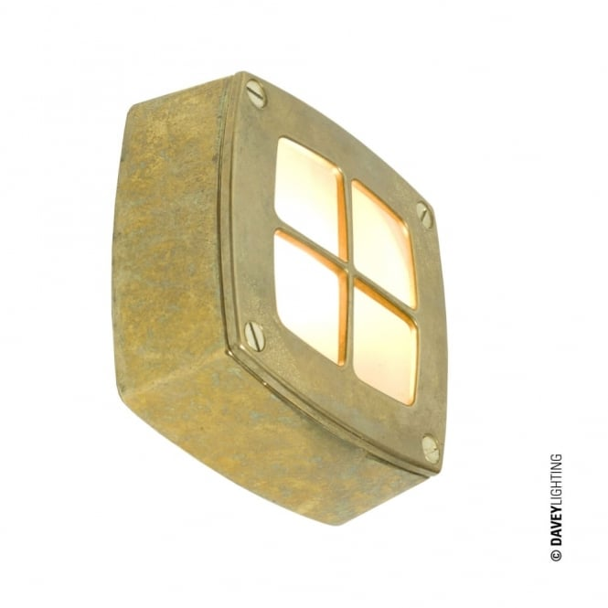 Davey Lighting WALL/CEILING - Light Square Cross Guard Brass