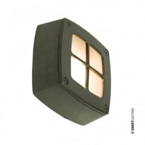 WALL/CEILING - Light Square Cross Guard Weathered Brass