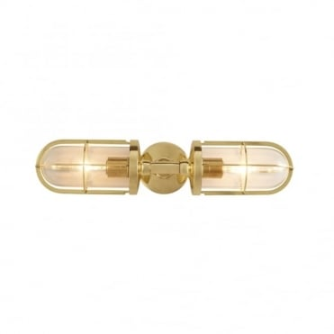 WEATHERPROOF - Ship's Double Well Glass Polished Brass Clear Glass