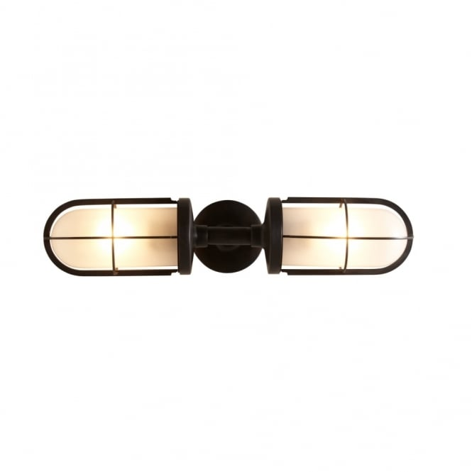 Davey Lighting WEATHERPROOF - Ship's Double Well Glass Weathered Brass Frosted Glass