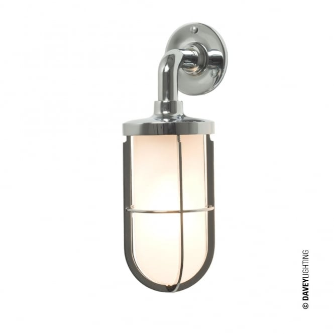 Davey Lighting WEATHERPROOF - Ship'S Well Glass 7207 Wall Light Chrome Frosted Glass