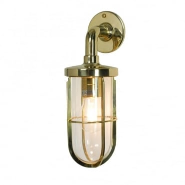 WEATHERPROOF - Ship's Well Glass 7207 Wall Light Polished Brass Clear Glass E27