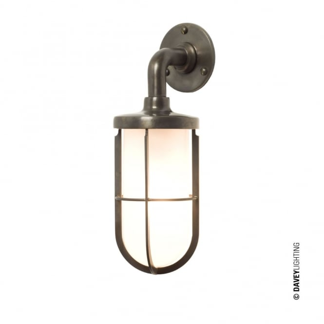 Davey Lighting WEATHERPROOF - Ship'S Well Glass 7207 Wall Light Weathered Brass Frosted Glass