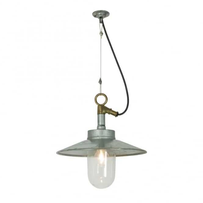 Davey Lighting WELL - Glass Ceiling Pendant With Visor Galvanised Clear Glass Ip44