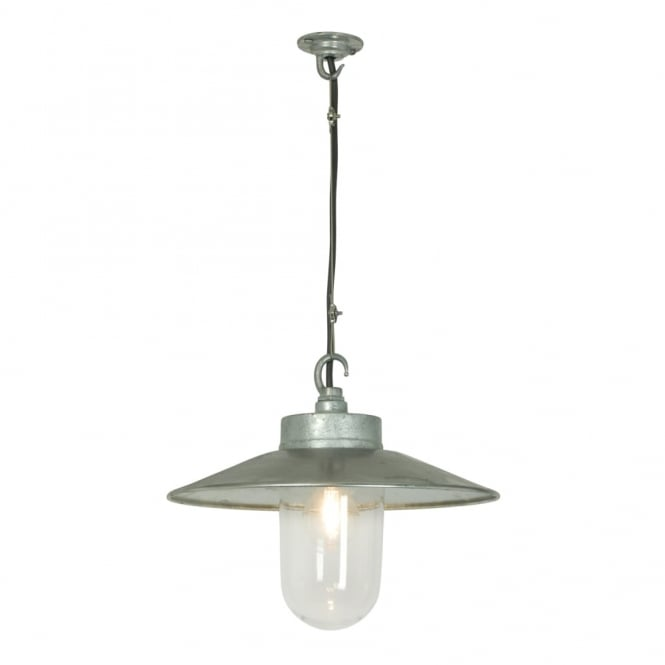 WELL - Glass Ceiling Pendant With Visor Galvanised Clear Glass