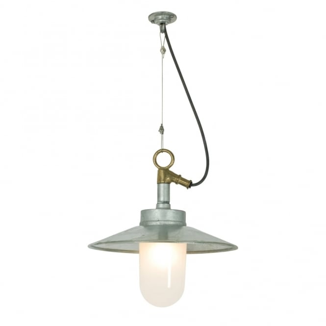 WELL - Glass Ceiling Pendant With Visor Galvanised Frosted Glass Ip44