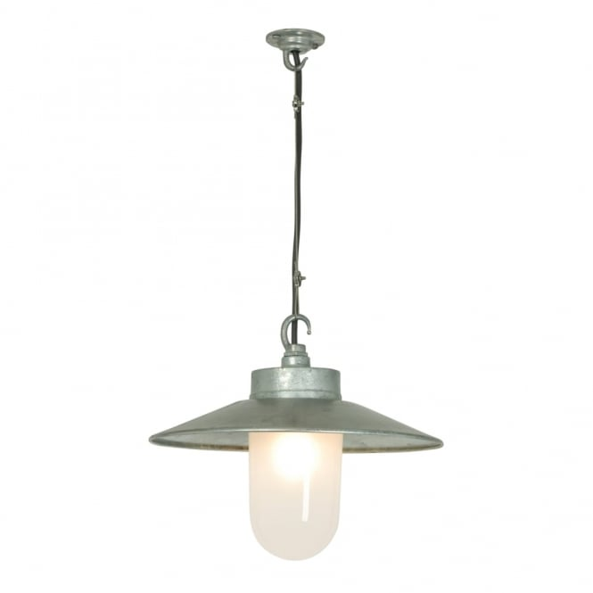 Davey Lighting WELL - Glass Ceiling Pendant With Visor Galvanised Frosted Glass