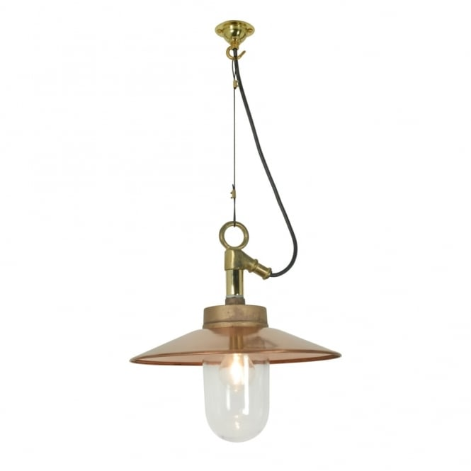 WELL - Glass Ceiling Pendant With Visor Gunmetal Clear Glass Ip44