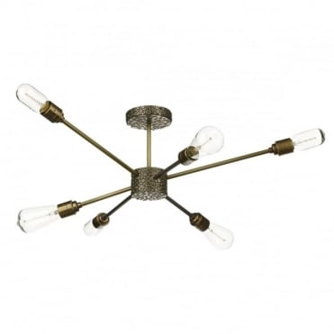 AVIATOR - 6 Light Semi Flush Ceiling Bronze