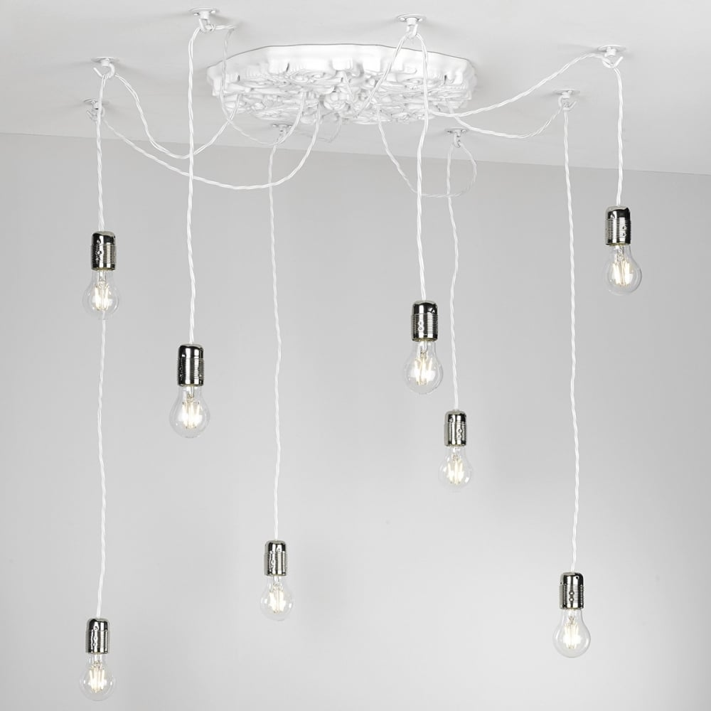cluster pendant lighting. CHATSWORTH - Decorative 8 Light Arctic White Ceiling Pendant Cluster Lighting