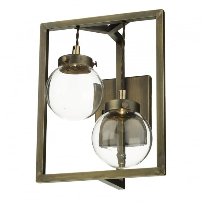 CHISWICK 2 Light Wall Light Antique Brass complete with Glass