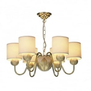 DAHLIA - 6 Light Ivory Gold Ceiling Chandelier