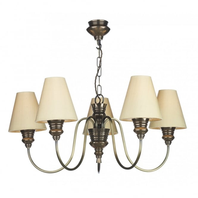 David Hunt Lighting DOREEN - 5 Light Bronze Ceiling Pendant With Silk Shades