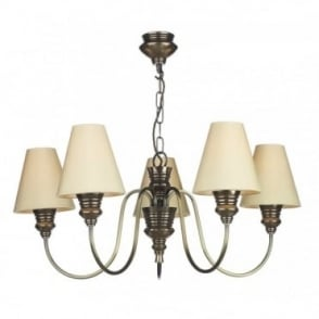 DOREEN - 5 Light Bronze Ceiling Pendant With Silk Shades